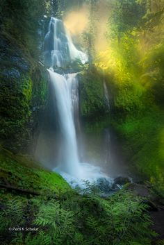 Falls Creek Spun Gold by Perri Schelat on 500px.Columbia River Gorge,Washington