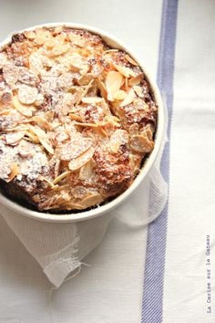 bread pudding with chocOlate sauce