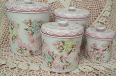 Hand Painted Canister Set Cottage Chic Pink Roses Hydrangea Lace Shabby Metal HP