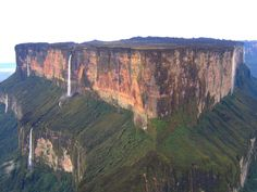 Mount Roraima is located in South America and includes the triple border point of Venezuela, Brazil and Guyana. The cliffs are approximately 400 Meters high.