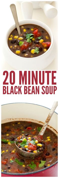 Super Easy 20 Minute Black Bean Soup! A hearty, filling vegetarian soup!