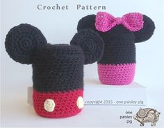 Piggy Bank / Coin Bank Mickey & Minnie Mouse - crochet pattern (cute fun way to use old mason jars - diy, inspiration)