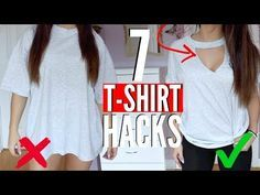 Today I am sharing 7 t-shirt hacks every girl should know! How to transform your Old T-shirts no sew or no glue! Diy Shirts No Sew, Zerschnittene Shirts, Ripped Shirts, Sewing Shirts, T Shirt Diy, Band Shirts, Sewing Clothes, Custom Clothes, Tee Shirt