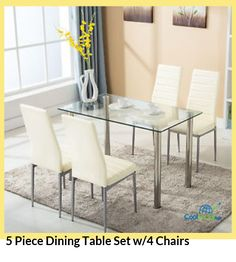 5 Piece Dining Table Set w/4 Chairs for more details visit http://coolsocialads.com/5-piece-dining-table-set-w-4-chairs-71128