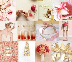 Mood: festive and feminine and fun  Palette: berry and blush pinks, vintage gold and silver