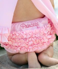 Look at this RuffleButts Pink 'Princess' Ruffle Diaper Cover - Infant