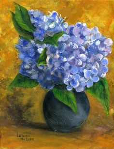 Big Hydrangeas in Little Black Vase Painting - Big Hydrangeas in Little Black Vase Fine Art Print - Lenora De Lude