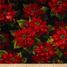 Michael Miller Scarlet Poinsetta Black from @fabricdotcom  From Michael Miller, this cotton print is perfect for quilting, apparel and home decor accents.  Colors include black, red, gold, tan and green.