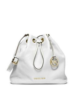 michael kors jules in white - My husband bought me this cutie. Its quite large and since I'd never buy myself a white bag. I was thrilled that he bought it for me. It does have dye stains on it from my jeans after on summer's use though. :(
