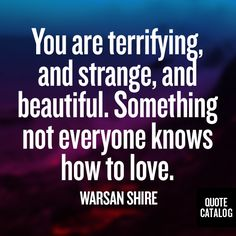 You are terrifying and strange, and beautiful. Something not everyone knows how to love. -Warsan Shire
