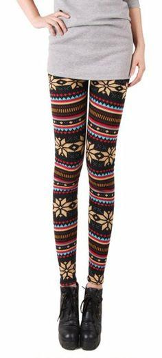 Fashion Vogue Women Girls Kids Warm Winter Knit Snowflake Leggings Xmas Stretch