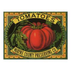 Wayne Co Tomatoes Vintage Fruit Crate Label Art Posters