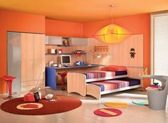Contemporary Colorful Kids Bedroom With A Vivacious Trundle Bed
