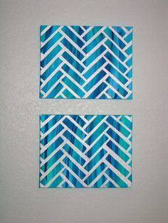 Our DIYnamic Home- Herringbone Painted Canvas using painter's tape