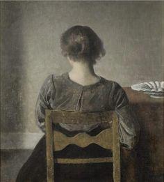 """Vilhelm Hammershøi (danois, 1864-1916), """"Jeune femme"""" également intitulé """"Repos"""", 1905, huile sur toile 49,5 × 46,5 cm, Musée d'Orsay, Paris"""