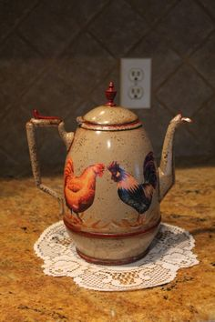 Rooster Tea Pot...Kitchen Decor..Country Decor..Rooster Collector...Rooster Decor.Home Decor. $34.95, via Etsy.