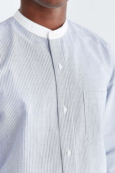 Shades Of Grey By Micah Cohen Mandarin Collar Button-Down Shirt