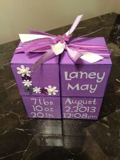 Baby girl blocks painted with glitter paint
