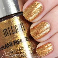 Milani Fierce Foil: ☆ Milan ☆ ... swatch via @alllacqueredup ... a light bronze metallic nail polish  (the best representative of a foil finish in the collection and it is SO reflective)