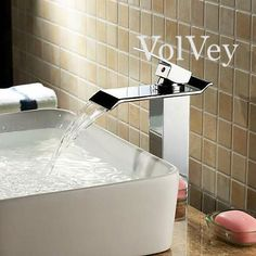 Volvey waterfall bathroom sink faucets with its fresh collections and simple strategy, this faucets gives itself to a more contemporary design. this basin sink faucet brings both style and function to your bathroom.