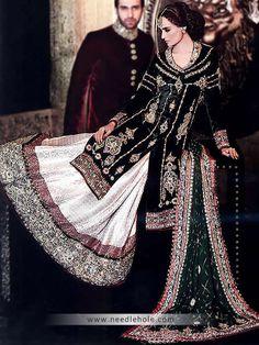edbe7e72b Anarkali bridal lehenga suit in pine green color. Sweet-heart neck ...