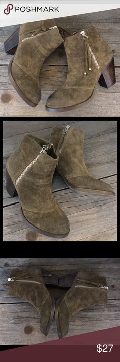 """Shoemint """"Holly"""" Moss Green Suede Booties In great condition!  Chunk heel, zippers on both sides of boot with long Suede laces in the zipper pulls.  Measurements: 8"""" tall measured from back of boot to the top.  11"""" around top of boot. Shoemint Shoes Ankle Boots & Booties"""