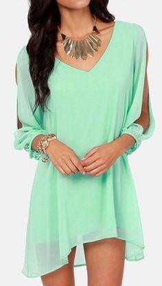Long Sleeve Mint Green Chiffon Dress