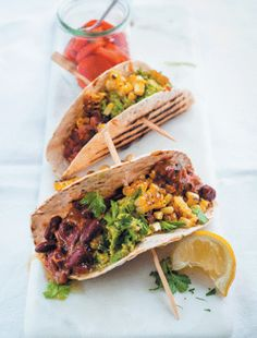 Tacos with vindaloo beans, crushed avocado and charred corn recipe