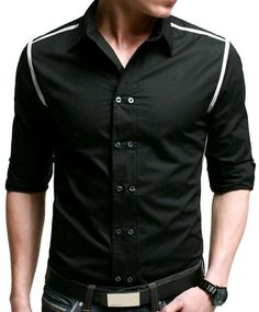 Doublju Men's Button Down Shirts With Stripe Patterned Long sleeve ...