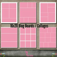 Blog Board Bundle Set Collection of 6 16x20 Template Collage Storyboard psd files INSTANT Download for photographer simple set by kmpdigitaldesigns, $9.00