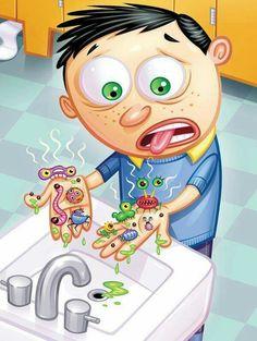 Apprendre aux enfants à se laver les mains.