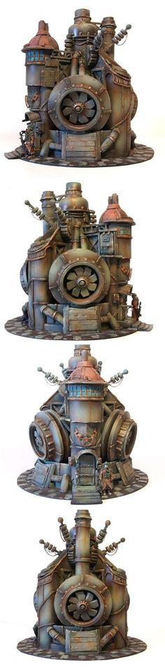 Buildings, Factory, Power Plant, Scifi, Steam, Steampunk, Terrain, Wargame, Warhammer Fantasy, Warmachine