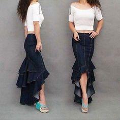 Women's Fashion Sexy Asymmetrical Mermaid Maxi Jeans Skirt 2015 – $54.99