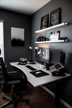 Modern Home Office Desk, Home Office Setup, Home Office Space, Home Studio Setup, Studio Room, Bedroom Setup, Room Design Bedroom, Bedroom Desk, Game Room Design