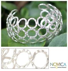 Silver 'Floating Bubbles' Cuff Bracelet (Thailand) by Novica