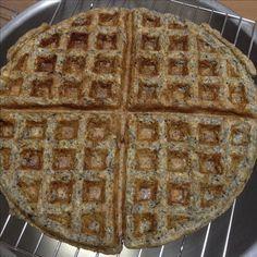 Apple Black Sesame Barley  Sourdough Waffle (makes 2 large round waffles) - 80g refreshed sourdough + 120g water + 40g China barley powder + 40g dark rye flour + 40 plain flour + 30g black sesame powder + 16g sugar , (day 2, add 1/2 tsp baking soda + 1 beaten egg + 3 Granny Smith Apple, chopped, 30g chopped walnut + 30g chopped raisins)