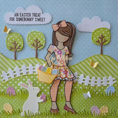 Emmy-Lou doll stamp (altered) By Yai Marie. Happy Easter.