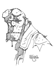 Mike Mignola Hellboy head sketch http://www.pinterest.com/mhendriks404/