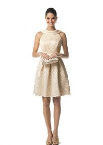 This short brocade dress is timeless and chic. The elegant cowl neck keeps this look sophisticated and the rich brocade fabric adds subtle detail. Dress this look up or wear it again more casually, a great staple piece for your closet. Fully lined. Back zip. Made in the USA; polyester. Dry clean only.