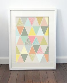 Sketchy Triangle Print on Etsy, $22.00 AUD geometric digital nursery pastel