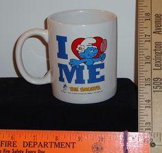 "Smurfs ""I Love Me"" Peyo 3 3/4 Inch Deep 2010 Coffee Mug Cup Smurf"