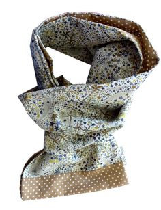 Foulard liberty adelajda orange et beige : Echarpe, foulard, cravate par crocmyys