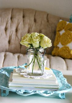 ball jar with roses