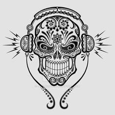 """Dj Sugar Skull"" T-Shirt Design This is a stylized sugar skull design with DJ headphones on. It's one my newest designs that you can see on a t-shirt here"