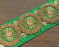 1 Yard Green Fabric Trim-Sequins Embroidered Design-Silk Fabric Trim-Crazy Quilt Fabric Trim-Green Sari Border Trim-Sari Fabric Trims-C20010