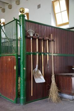 Neat idea to keep it all organized, horse barns, equestrian stables.