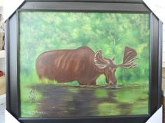 The MOOSE Oil Painting with Black Frame  24 x 30 by LinsFinalTouch