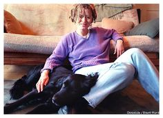 Anne Lamott with her dog. Credit to Brant Ward ~ 18 Stunning Pictures of 18 famous Women writers | VERSE.LY