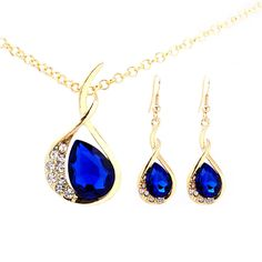 Buy Gold Plated Necklace Set for Girls with pendant chain and earrings. Shop gold plated necklace sets with waterdrop shaped Blue Sapphire Austrian diamonds. Visit Now @ Trendymela,com