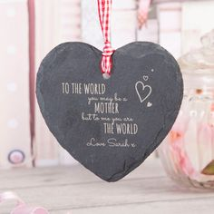 Engraved Heart-Shaped Slate Hanging Keepsake - To Me You Are The World | GettingPersonal.co.uk